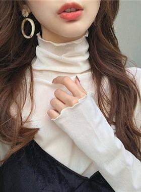 秋季2021新款小众设计感高领内搭网纱雪纺上衣长袖蕾丝打底衫女