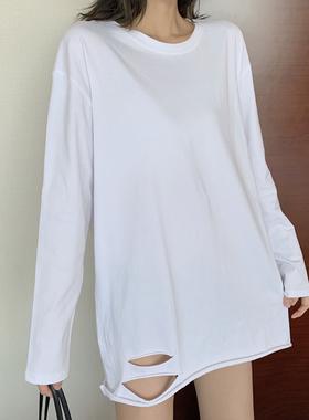 韩版ins下摆破洞长袖T恤女纯棉白色百搭打底衫中长款宽松上衣圆领