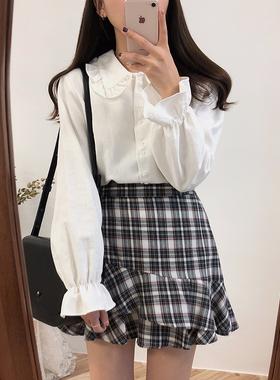 秋季韩版复古内搭设计感上衣小众娃娃领白色长袖衬衫女打底衬衣