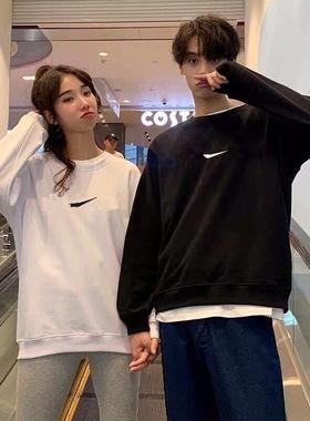 【2021秋季男女情侣款卫衣】纯色毛圈棉爆款上衣套装圆领百搭时尚
