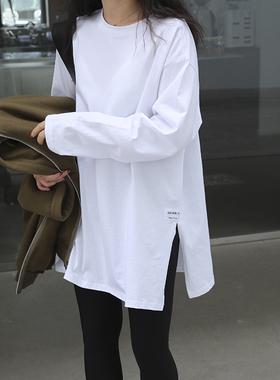 白色t恤女春秋上衣设计感纯棉打底衫长袖宽松卫衣叠穿长款内搭白t