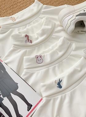 尤礼原创德绒高领白色打底衫女秋冬日系长袖t恤内搭加绒加厚上衣