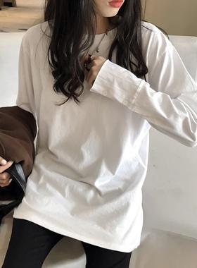 中长款宽松袖子拼接纯棉白色长袖遮屁股t恤打底衫内搭叠穿女上衣