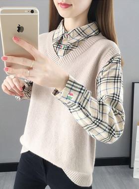假两件上衣女春秋长袖港味拼接衬衫领毛衣2021年新款套头针织马甲