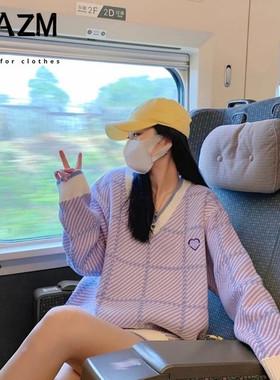 秋季新款紫色V领软糯毛衣女2021秋新款宽松慵懒风针织上衣外套H