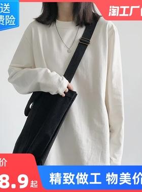2021新款长袖T恤女春秋款纯白色内搭打底衫韩版潮学生宽松上衣服