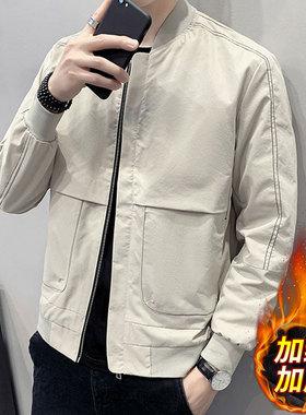 外套男士2021新款秋冬加绒加厚休闲棒球服夹克百搭春秋上衣服男装