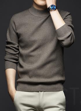秋冬季男士中半高领针织打底衫加厚毛衣秋装上衣毛衫2021男装新款