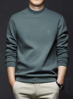 秋冬季男士中半高领卫衣宽松长袖T恤打底衫2021新款男装秋装上衣