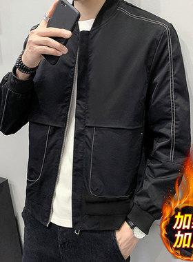 男士外套加绒加厚棒球领夹克秋冬季2021新款潮流休闲春秋男装上衣