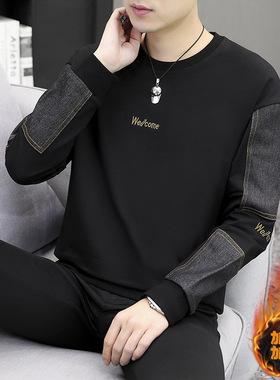 长袖t恤男春秋男装2021新款潮流帅气大码秋装上衣男士卫衣秋冬季